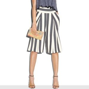 Milly Striped Graphic Culottes Wide Leg Crop Pants